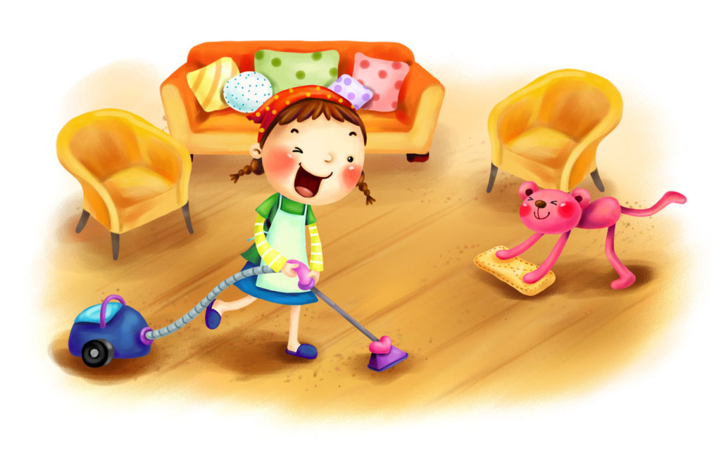девочка убирает комнату