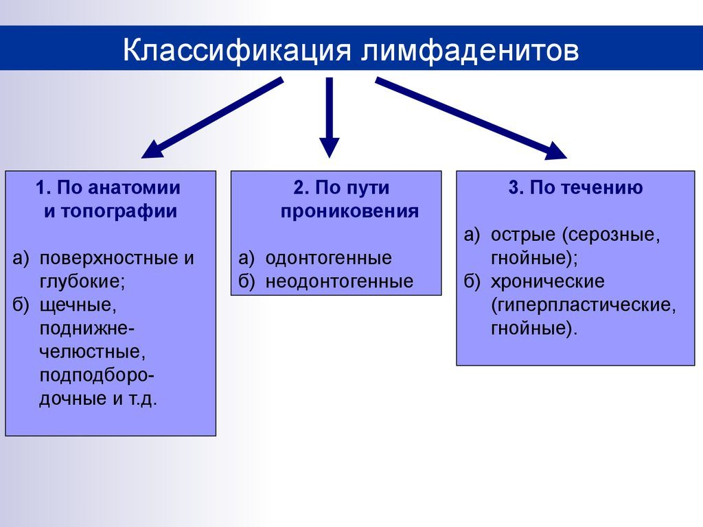 классификация лимфаденитов