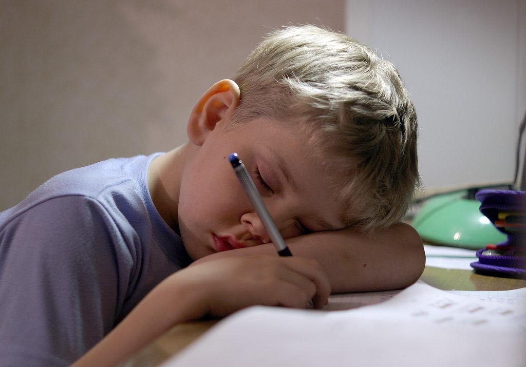 мальчик уснул над уроками