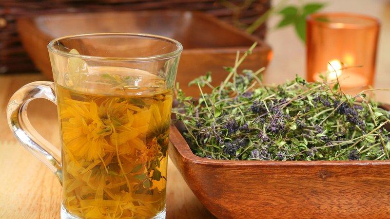 чашка отвара и миска травяного сбора