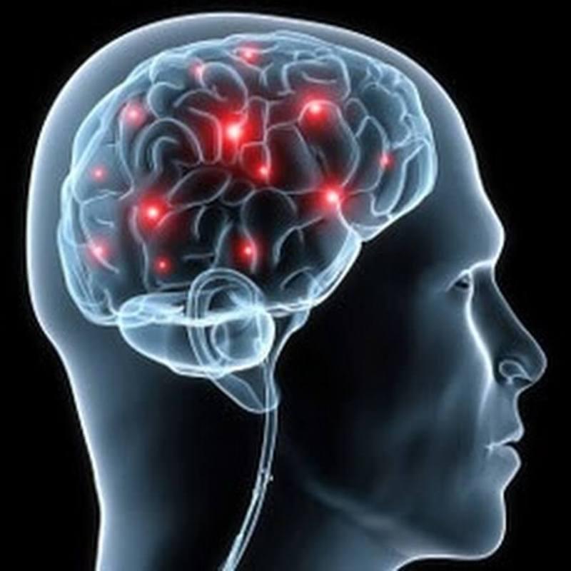 мозг с красными точками