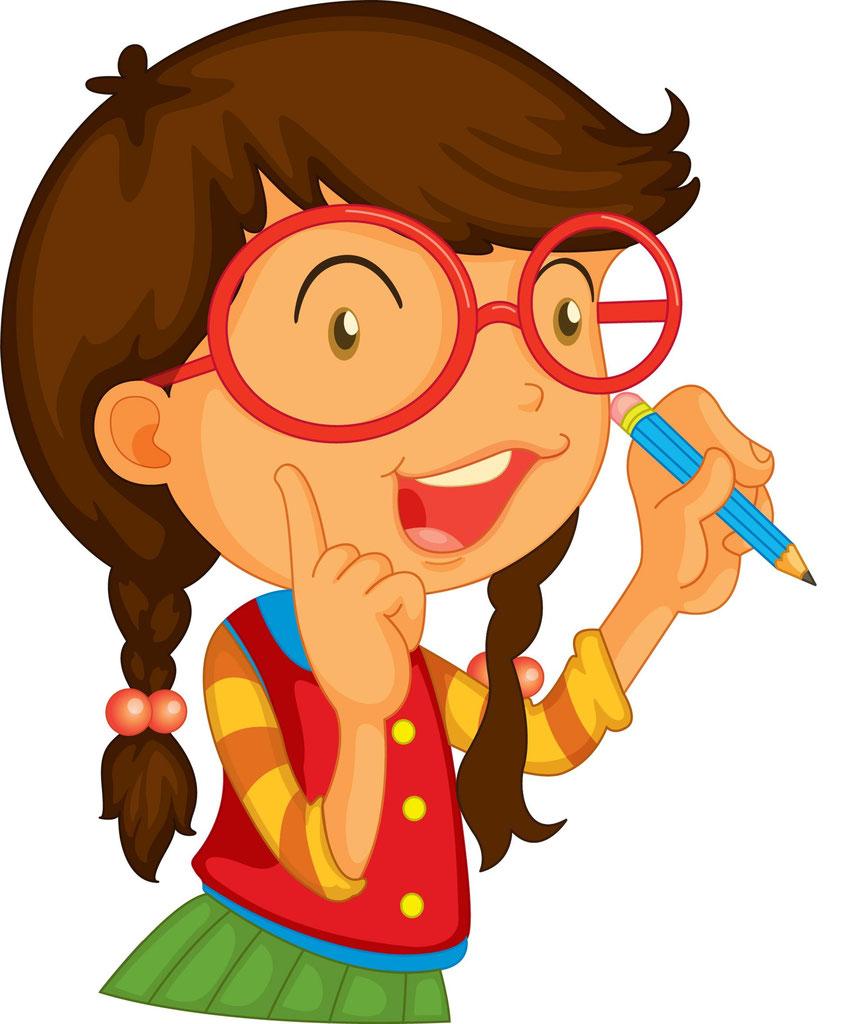 нарисованная девочка в очках